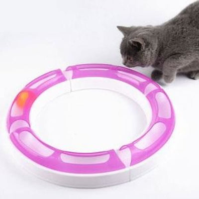$32.75 - KITTY ROUND ABOUT INTERACTIVE CAT TOY (2) TRAVEL PETS