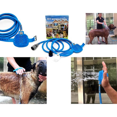 $34.95 - PET BATHING TOOL: ALL-IN-1 HOSE WASHER & SCRUBBER FOR DOGS/CATS (8) TRAVEL PETS