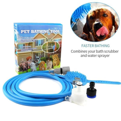 $34.95 - PET BATHING TOOL: ALL-IN-1 HOSE WASHER & SCRUBBER FOR DOGS/CATS (2) TRAVEL PETS