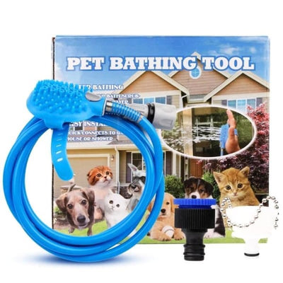 $34.95 - PET BATHING TOOL: ALL-IN-1 HOSE WASHER & SCRUBBER FOR DOGS/CATS 1KG (1) TRAVEL PETS