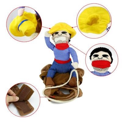 $29.95 - PET COWBOY RIDER COSTUME (8) TRAVEL PETS