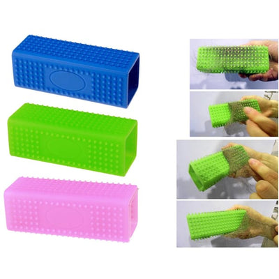 $24.95 - RECTANGLE SILICONE PET GROOMING TOOL (3) TRAVEL PETS