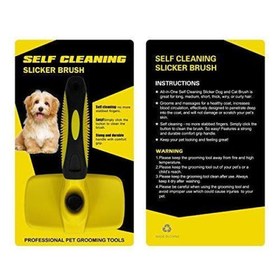 $34.95 - SELF-CLEANING SLICKER GROOMING BRUSH (7) TRAVEL PETS