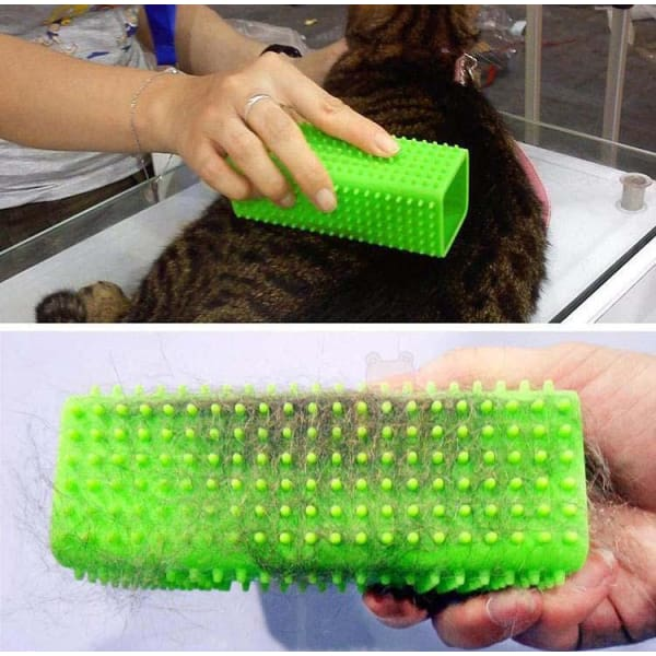 $24.95 - RECTANGLE SILICONE PET GROOMING TOOL (1) TRAVEL PETS