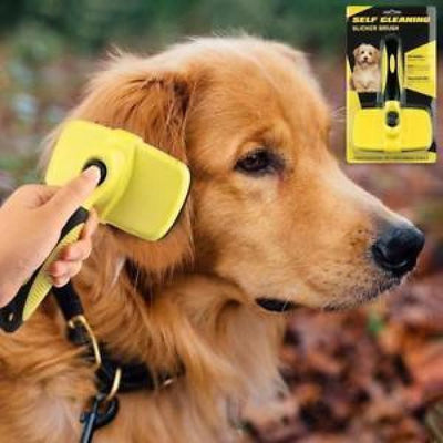 $34.95 - SELF-CLEANING SLICKER GROOMING BRUSH (2) TRAVEL PETS