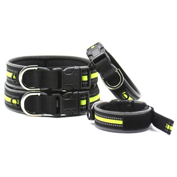 $19.75 - REFLECTIVE DOG COLLAR WITH WETSUIT MATERIAL (2) TRAVEL PETS