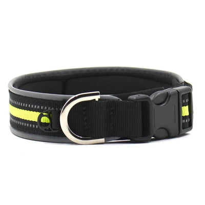$19.75 - REFLECTIVE DOG COLLAR WITH WETSUIT MATERIAL MEDIUM / GREEN BLACK 0.15KG (5) TRAVEL PETS