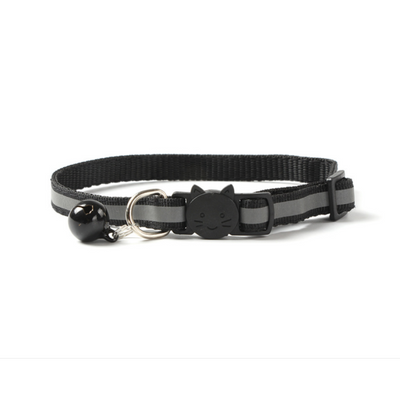$12.50 - REFLECTIVE SAFETY BREAKAWAY ADJUSTABLE CAT COLLAR WITH BELL BLACK 0.1KG (5) TRAVEL PETS