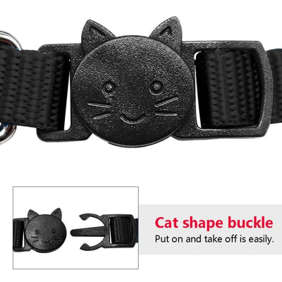 $13.75 - SAFETY BREAKAWAY QUICK RELEASE CAT COLLAR WITH BELL - ADJUSTABLE BLACK 0.25KG (5) TRAVEL PETS