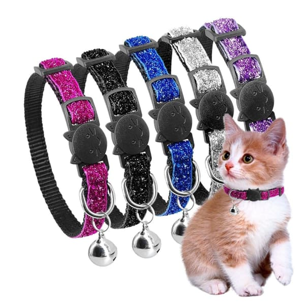 $14.50 - QUICK RELEASE GLITTER SAFE CAT COLLAR WITH BELLS BLUE 0.25KG (6) TRAVEL PETS