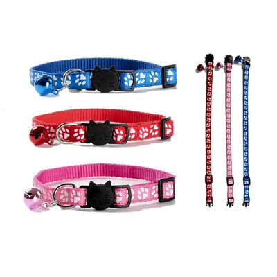 $11.00 - CUTE PAW PRINT SAFETY BREAKAWAY ADJUSTABLE SAFE CAT COLLAR WITH BELL (2) TRAVEL PETS