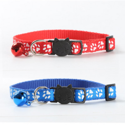 $11.00 - CUTE PAW PRINT SAFETY BREAKAWAY ADJUSTABLE SAFE CAT COLLAR WITH BELL (5) TRAVEL PETS