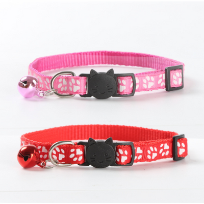$11.00 - CUTE PAW PRINT SAFETY BREAKAWAY ADJUSTABLE SAFE CAT COLLAR WITH BELL (6) TRAVEL PETS
