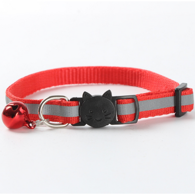 $12.50 - REFLECTIVE SAFETY BREAKAWAY ADJUSTABLE CAT COLLAR WITH BELL RED 0.1KG (9) TRAVEL PETS