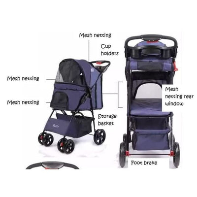 $159.00 - BELLO PET PRAM/STROLLER FOR SMALL CATS & DOGS (3) TRAVEL PETS