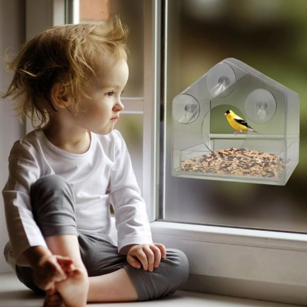 $33.50 - CLEAR ACRYLIC BIRD HOUSE WINDOW FEEDER 0.4KG (1) TRAVEL PETS