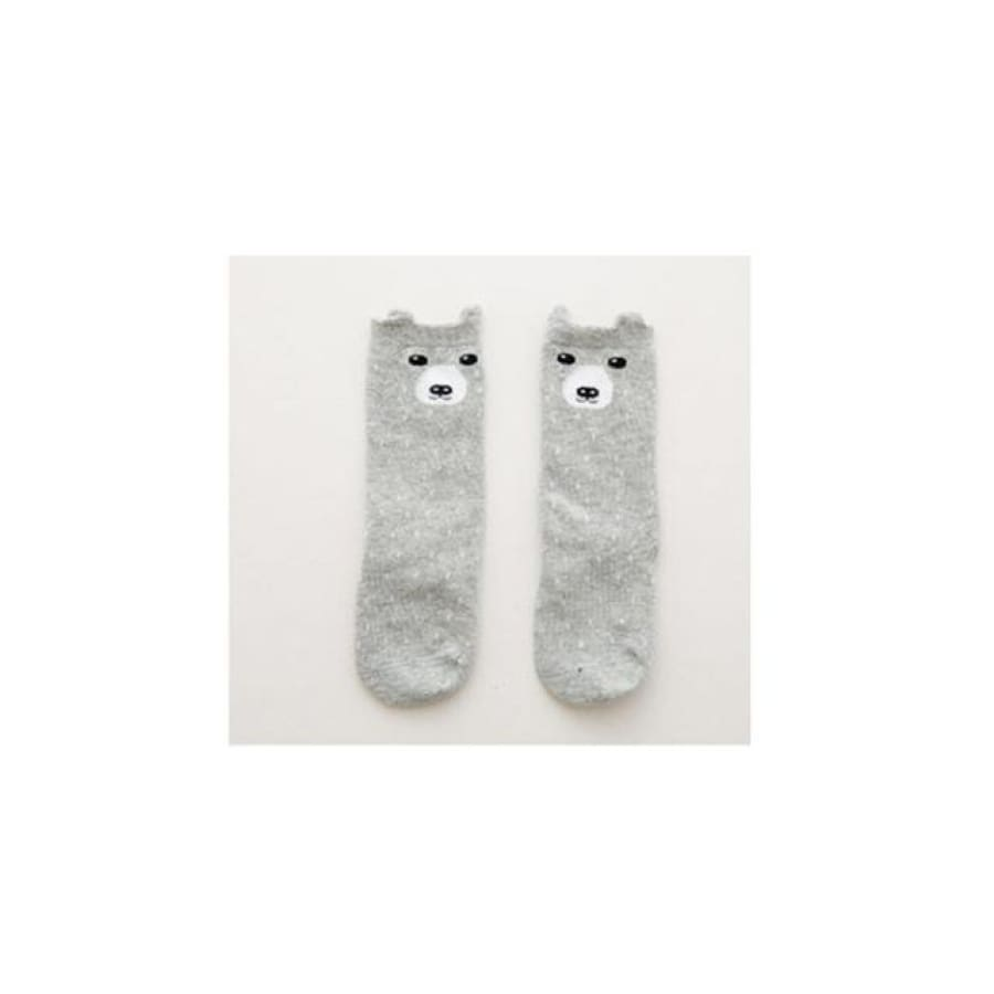 Animal Character Knee High Socks - Grey / to 2 Years - Socks Socks
