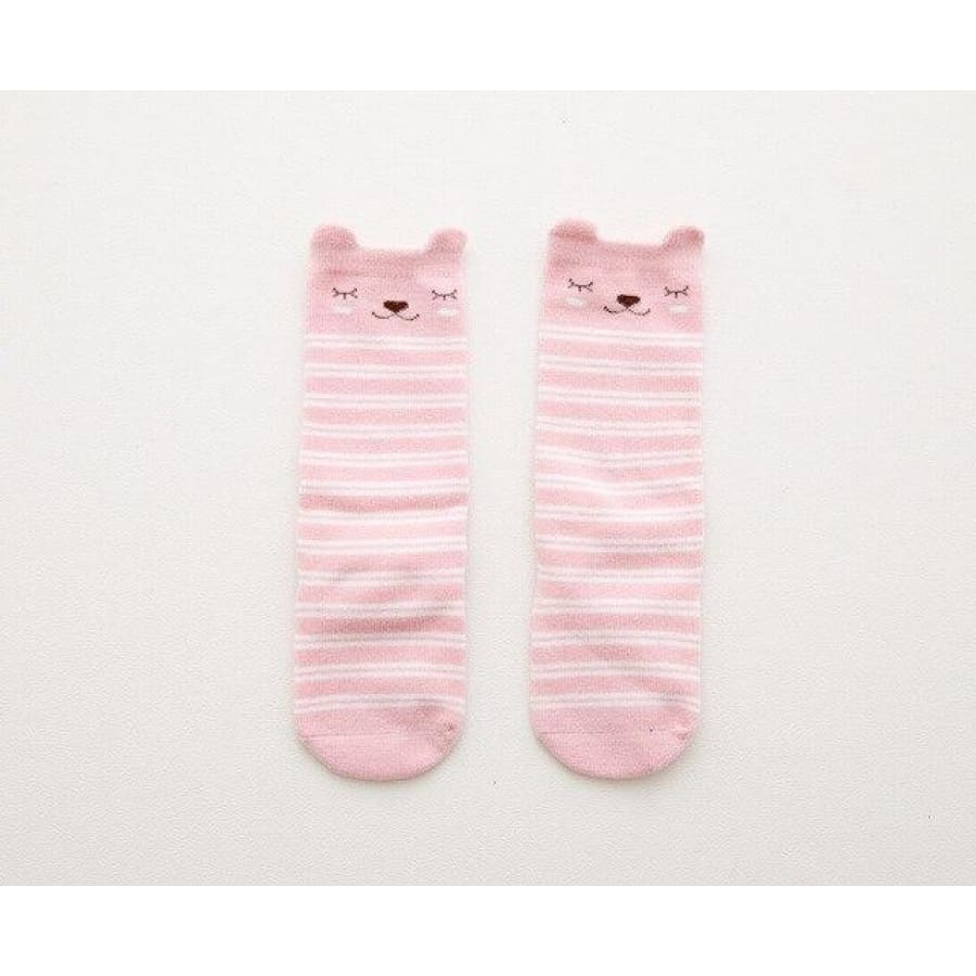 Animal Character Knee High Socks - Stripe Pink / to 2 Years - Socks Socks