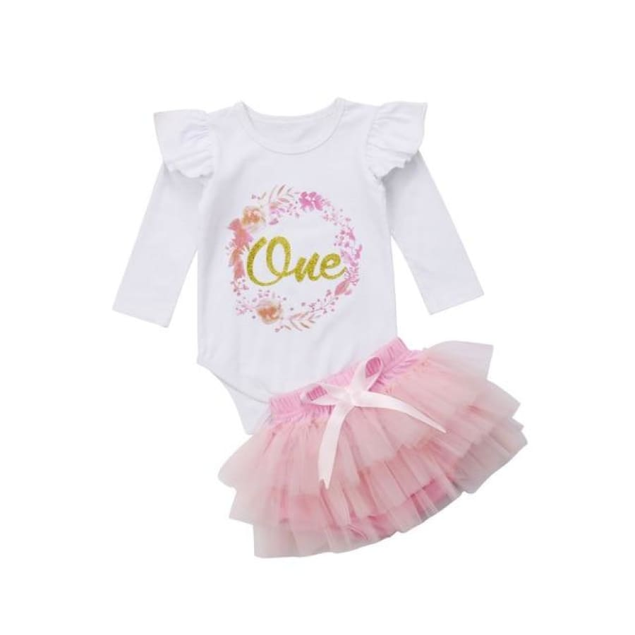 Boho One Long Sleeve Onesie Tutu Set - 0-6 Months - Celebrations 2 piece birthday celebrations floral one