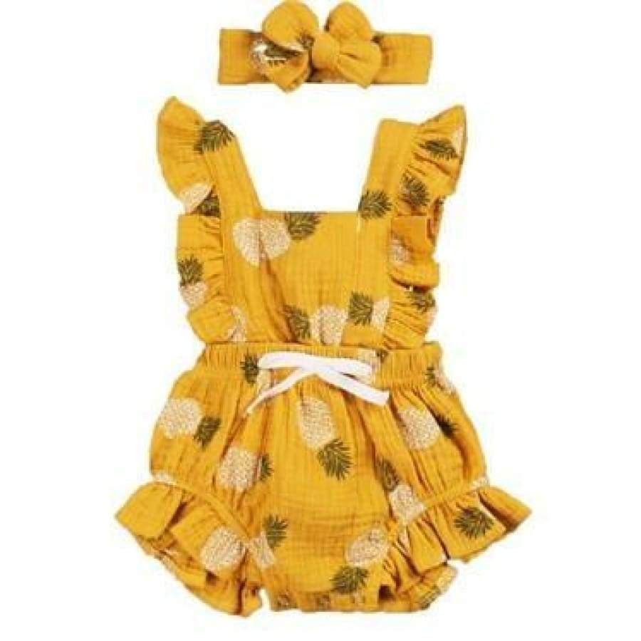 Bonnie Flutter Romper - Yellow Pineapples - 18-24 Months - rompers rompers 20% off