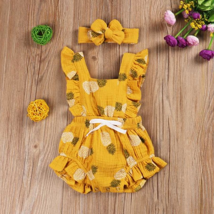 Bonnie Flutter Romper - Yellow Pineapples - rompers rompers