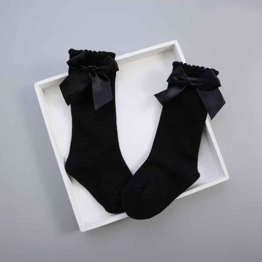 Bow Princess Knee High Socks - Black / S - Socks Socks 25% off
