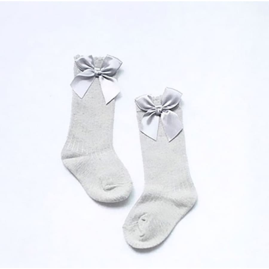 Bow Princess Knee High Socks - Gray / S - Socks Socks 25% off