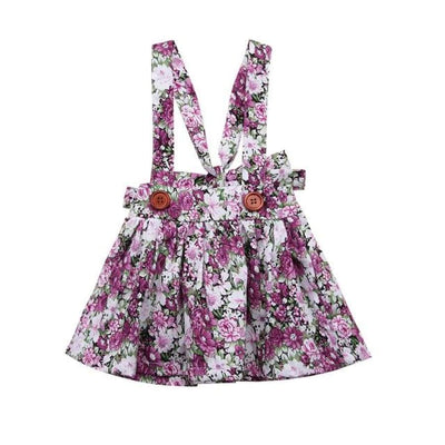 Brianna Floral Pinafore - Purple / 0-6 Months - Dresses Dress
