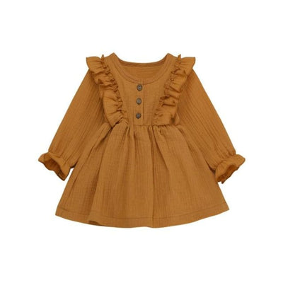 Brittany Frilly Long Sleeve Dress - Mustard / 3-4 Years - Dress dress