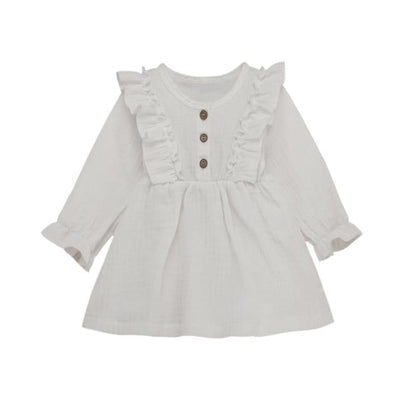 Brittany Frilly Long Sleeve Dress - Snow / 18-24 Months - Dress dress