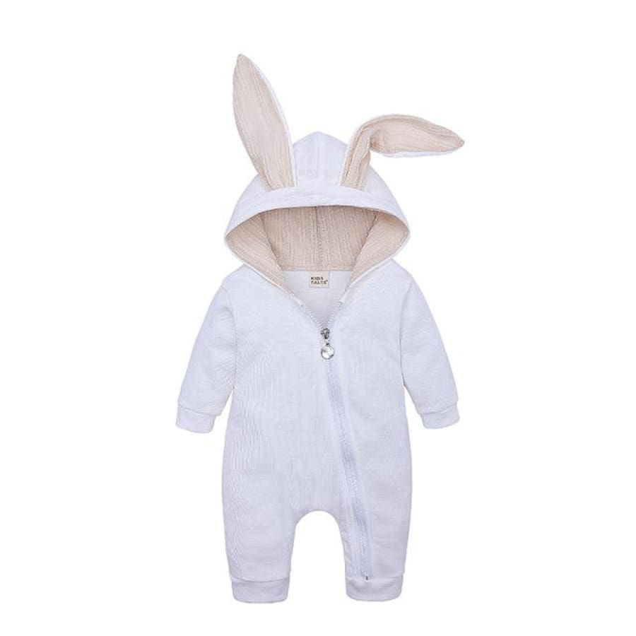 Bunny Babe Hoodie Jumpsuit - Off White / 6-12 Months - jumpsuit