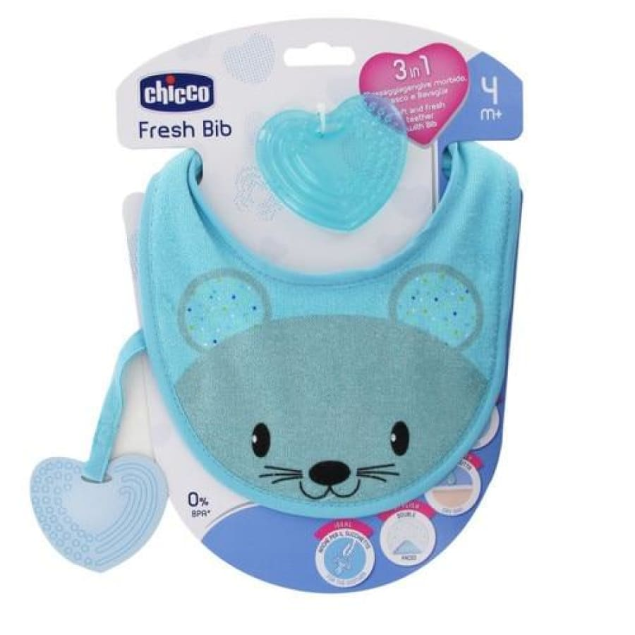 Chicco Fresh Teether Bib - Blue - Bib bib, teether