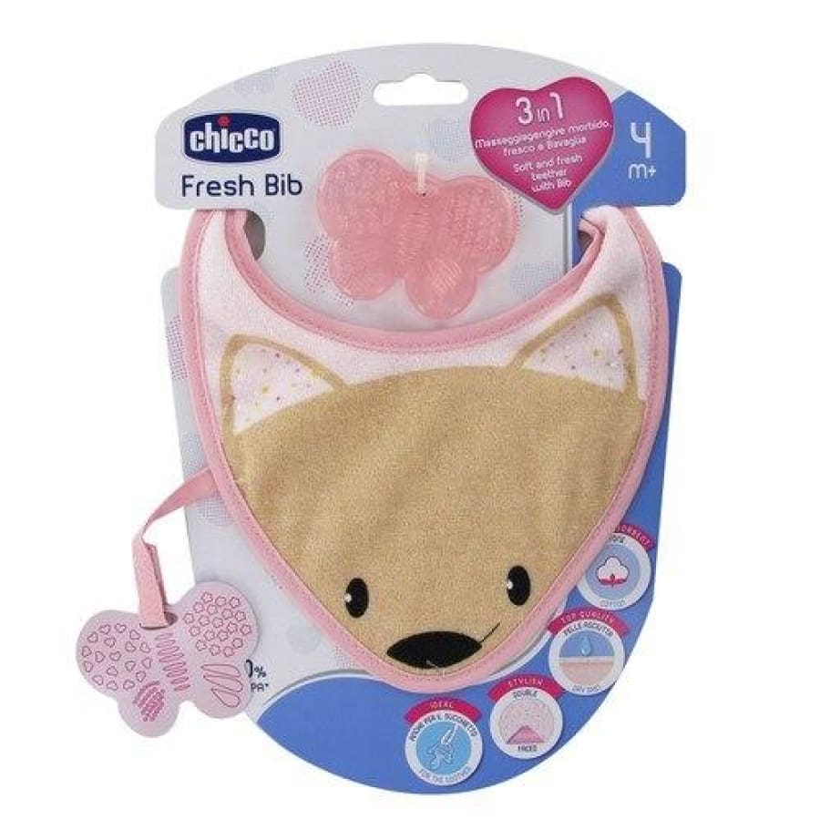 Chicco Fresh Teether Bib - Pink - Bib bib, teether