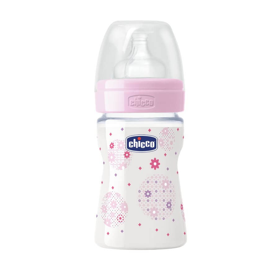 Chicco Well-Being Girl 0m+ Regular Flow Bottle 150ml - Bottle breast pad chicco