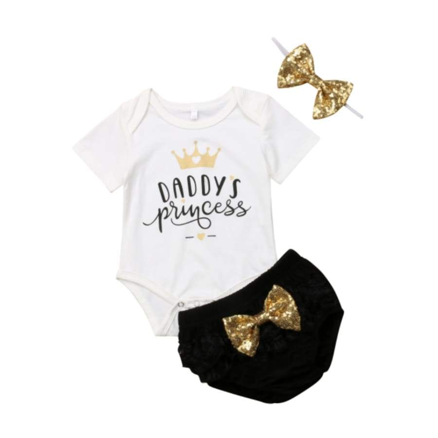 Daddys Princes Glitter Bow Set - 0-6 Months - Sets 3 piece set bloomer bow princess sets