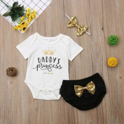 Daddys Princes Glitter Bow Set - Sets 3 piece set bloomer bow princess sets