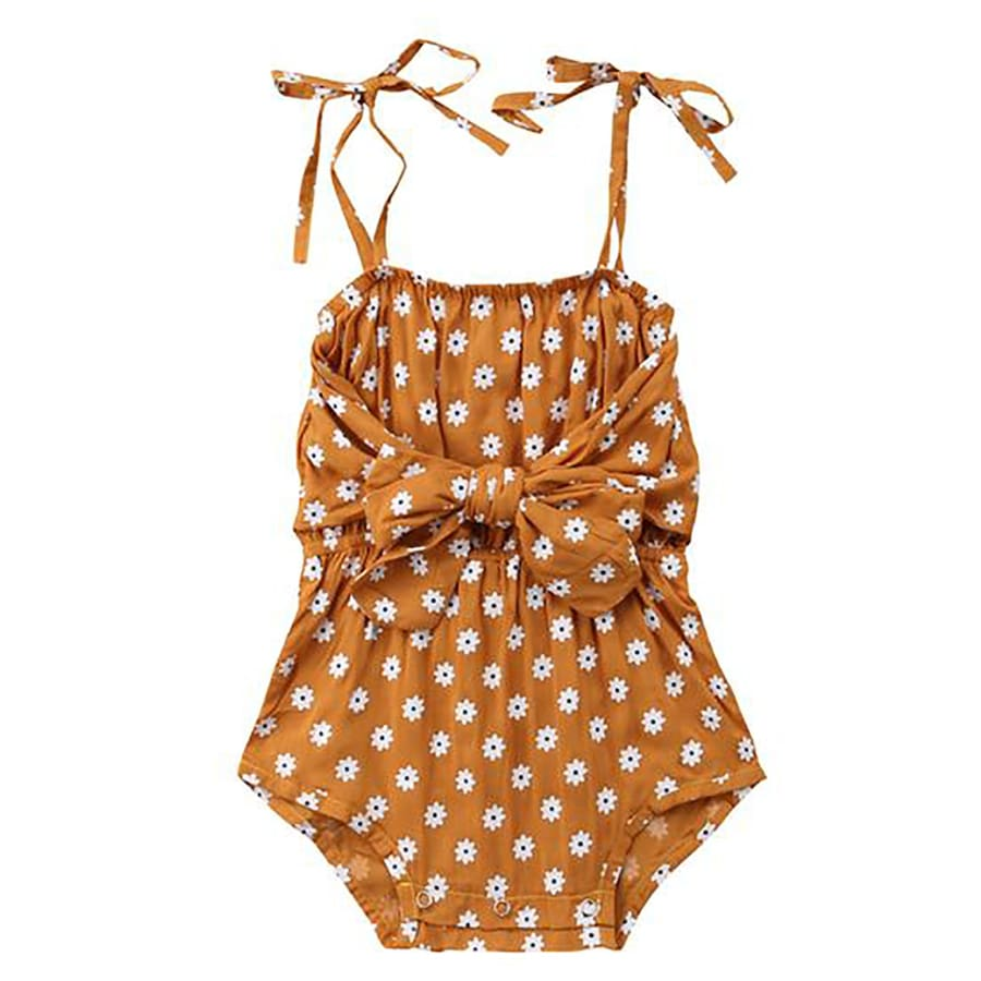 Daisy Bow Romper - 0-6 Months - Rompers Rompers