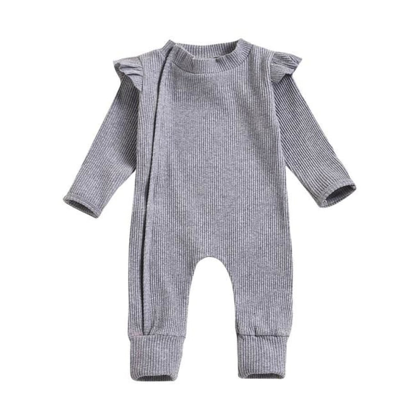 Essentials Flutter Ribbed Zipper Jumpsuit - Natural / 0-3 Months - onesie onesie
