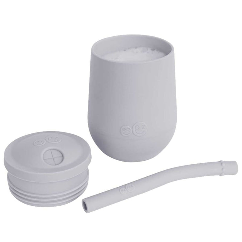 Ezpz Mini Cup + Straw Training System Pewter - Feeding Bowl, drink cups, ezpz, Feeding