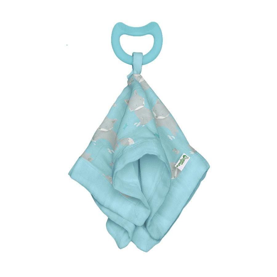 Green Sprouts Snuggle Blankie Teether made from Organic Cotton-Aqua Fox-3 Months+ - Teether teether