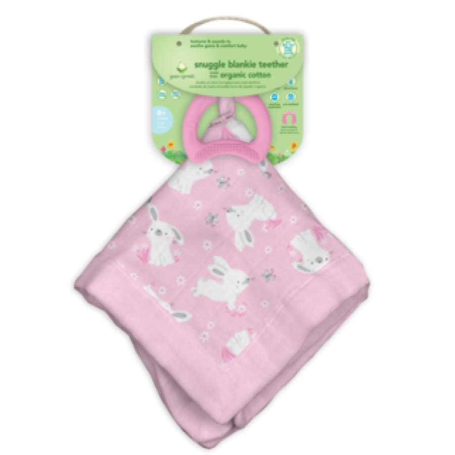 Green Sprouts Snuggle Blankie Teether made from Organic Cotton-Pink Bunny-3 Months+ - Teether teether