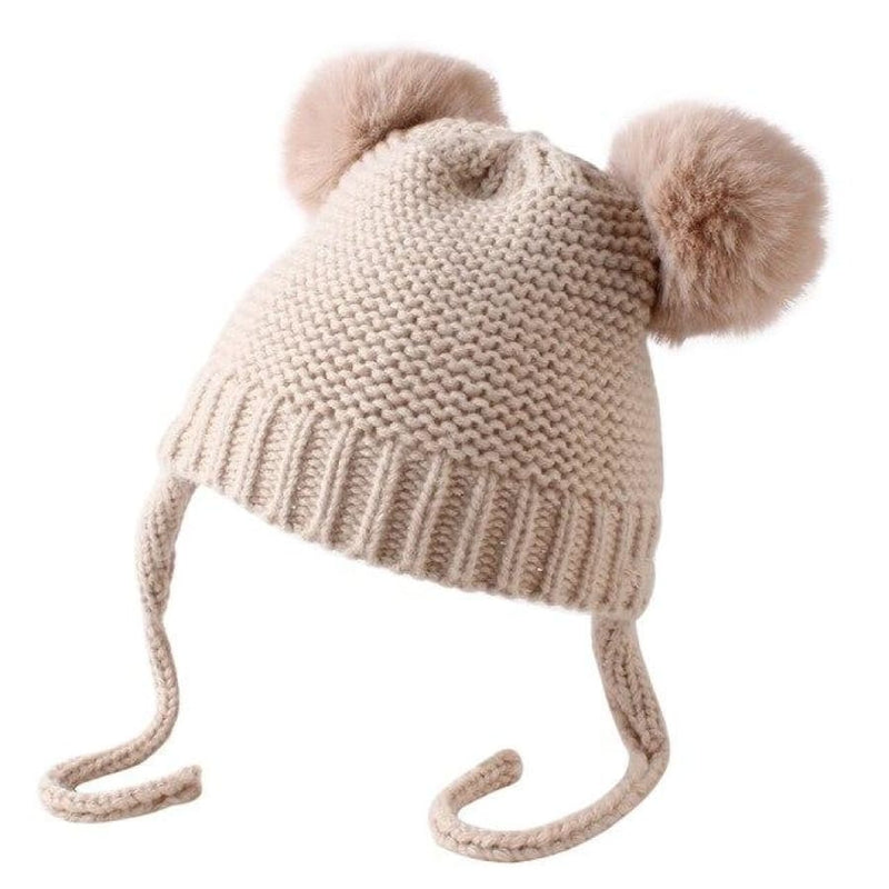 Haven Knitted Tie Baby Beanie - Pink - hats hats