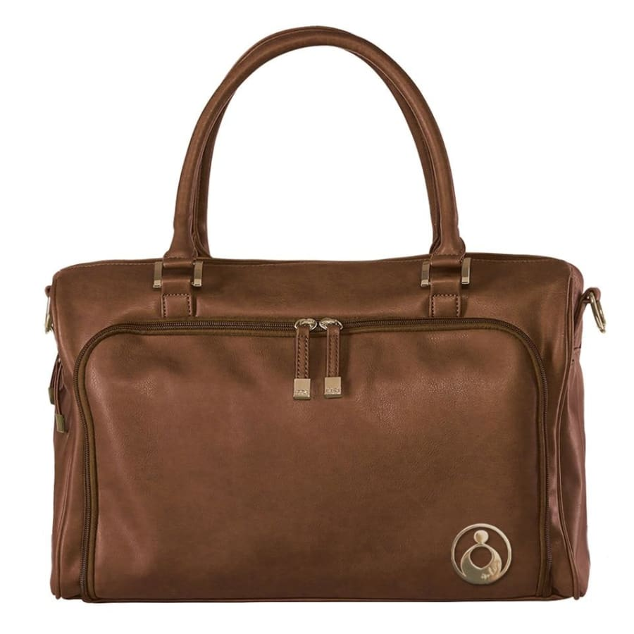 Isoki Double Zip Satchel Redwood/Chestnut - Nappy Bag isoki, Nappy Bag