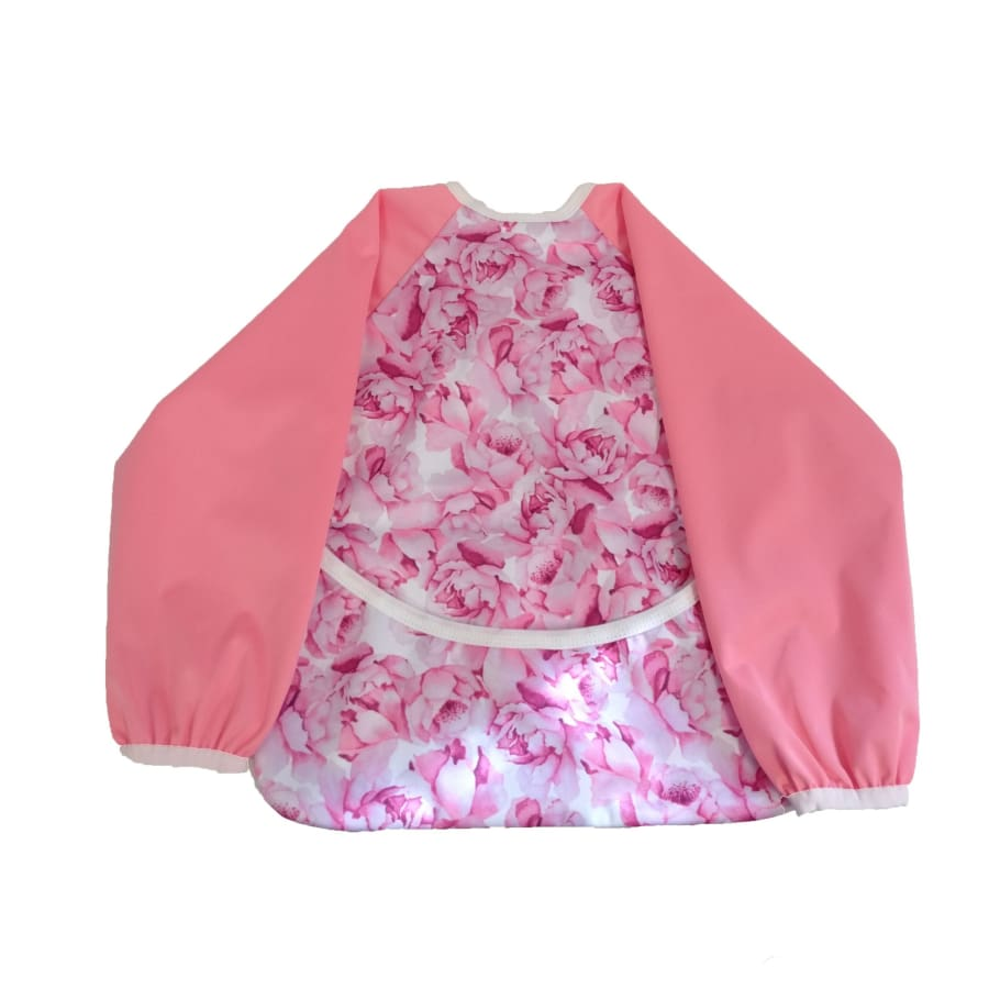 itti Smock Waterproof Sleeved Bib Peony - Cloth Nappies bib smock