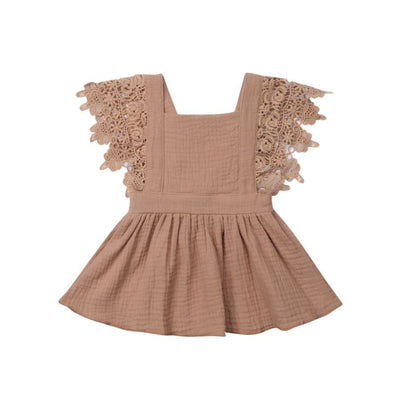 Jacqueline Lace Flutter Pinafore Dress - Coffee / 0-6 Months - Dress Dress Lace vintage