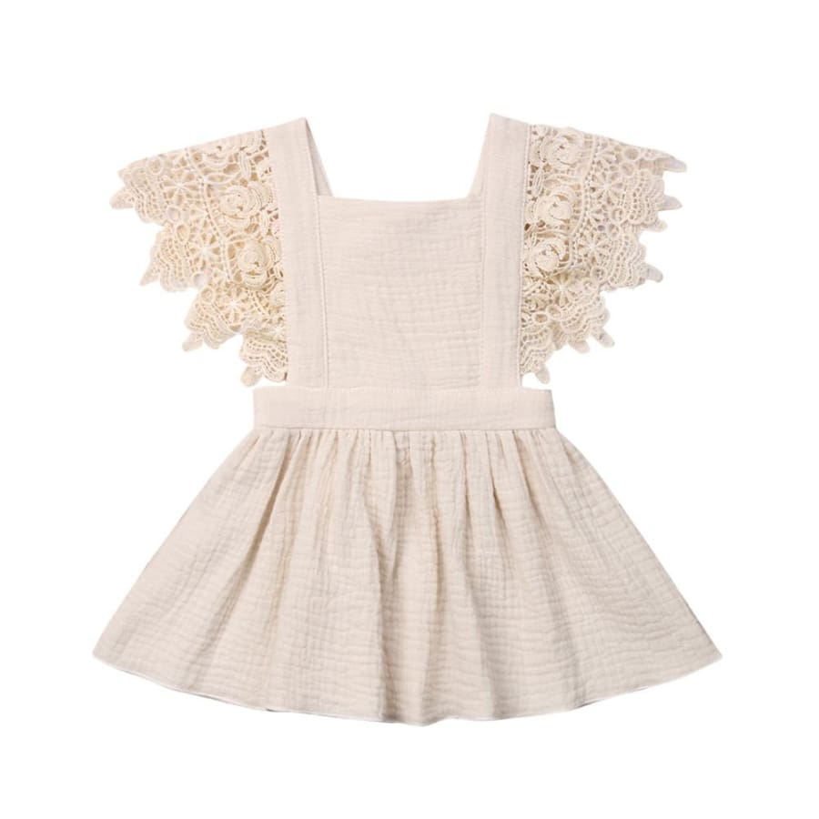 Jacqueline Lace Flutter Pinafore Dress - Cream / 0-6 Months - Dress Dress Lace vintage