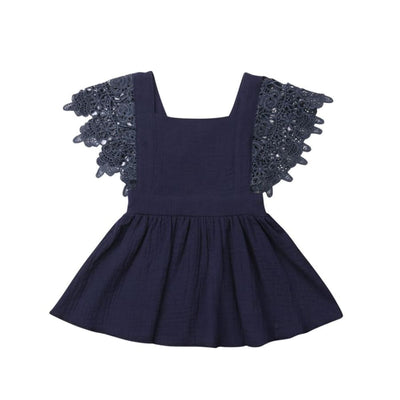 Jacqueline Lace Flutter Pinafore Dress - Navy / 0-6 Months - Dress Dress Lace vintage