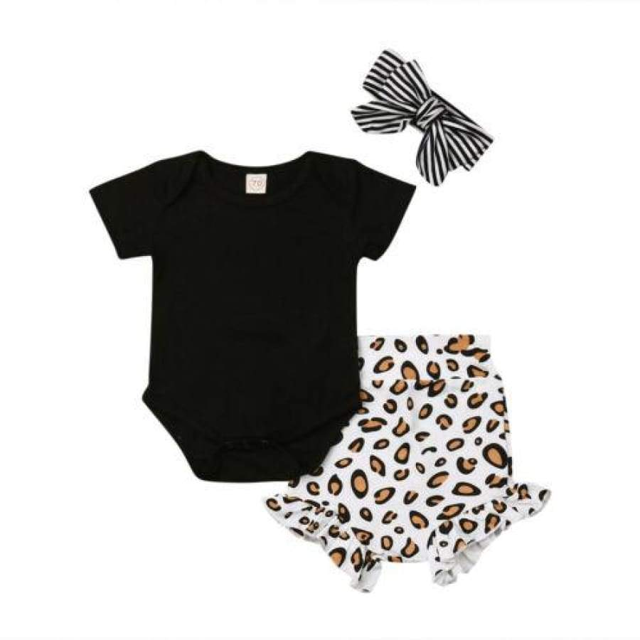 Kingsley Leopard Print High Waisted Short Sleeve Bloomer Set - 0-6 Months - Sets headband leopard onesie sets 25% off