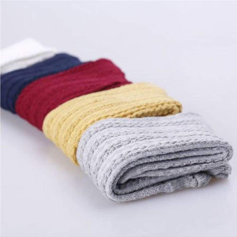 Knit Look Knee Hi Sock - Yellow / to 1 - Socks girl knee hi knit socks