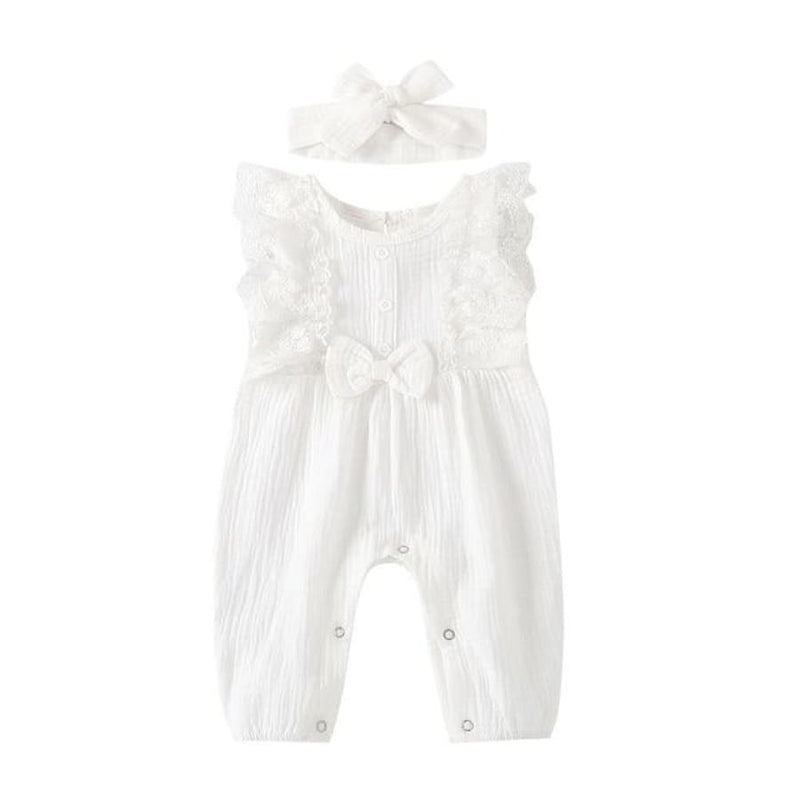 Lizzy Bow Waisted Jumpsuit - Peach / 18-24 Months - rompers